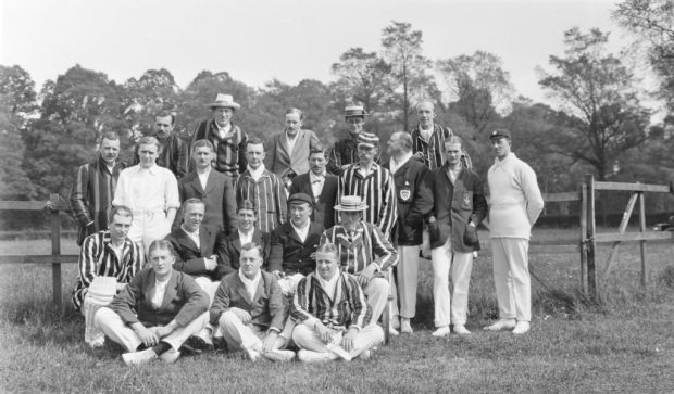 Glass plate negative of Easton Ramblers CC and the Gordon Highlanders cricket team at Easton Park, Suffolk