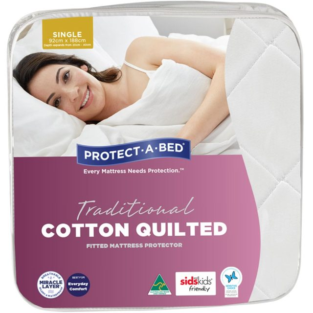 Protect A Bed Traditional Cotton Quilted Ed Waterproof Mattress Protector