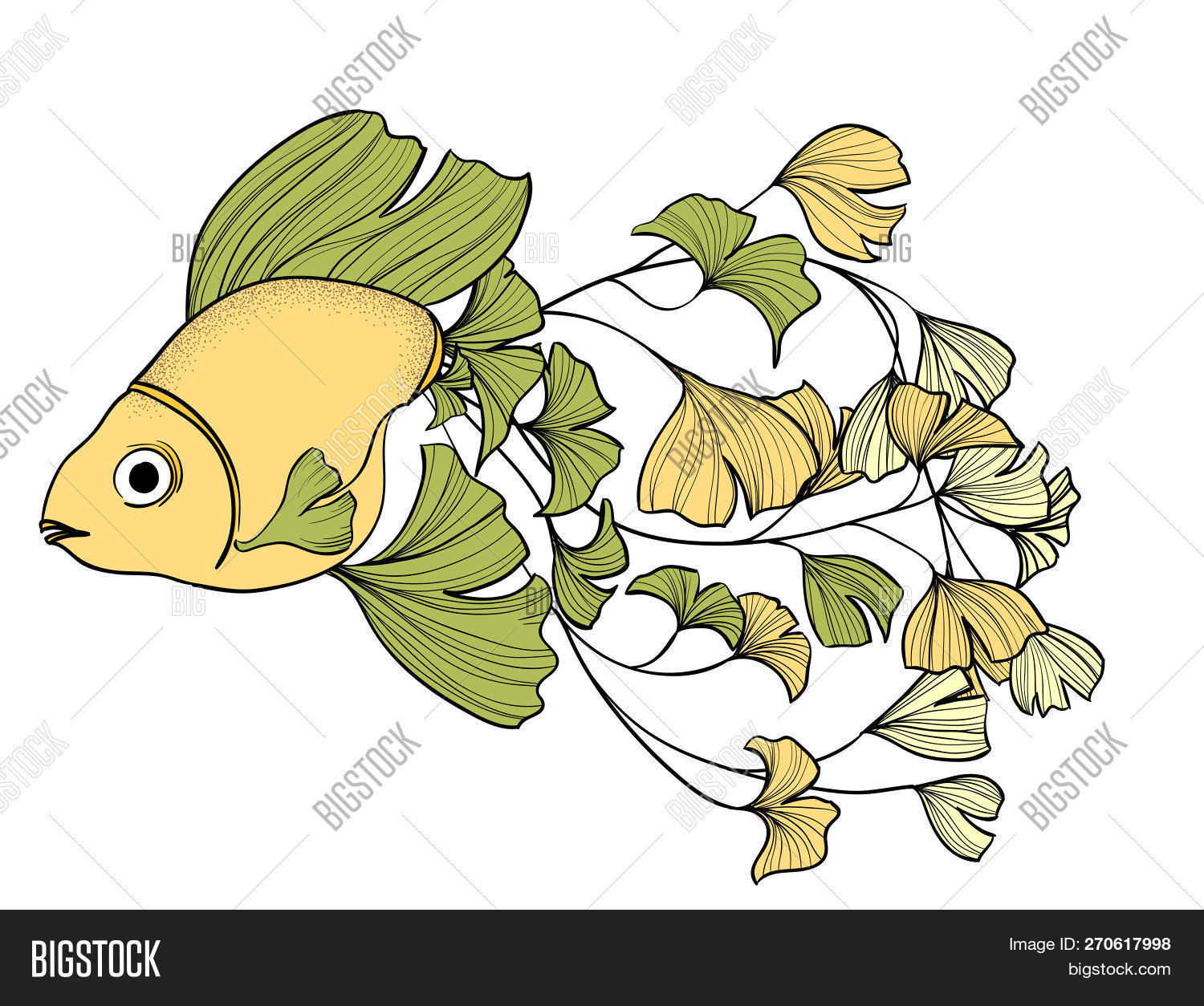 Goldfish With Ginkgo Leaves Tail Outline Hand Drawn