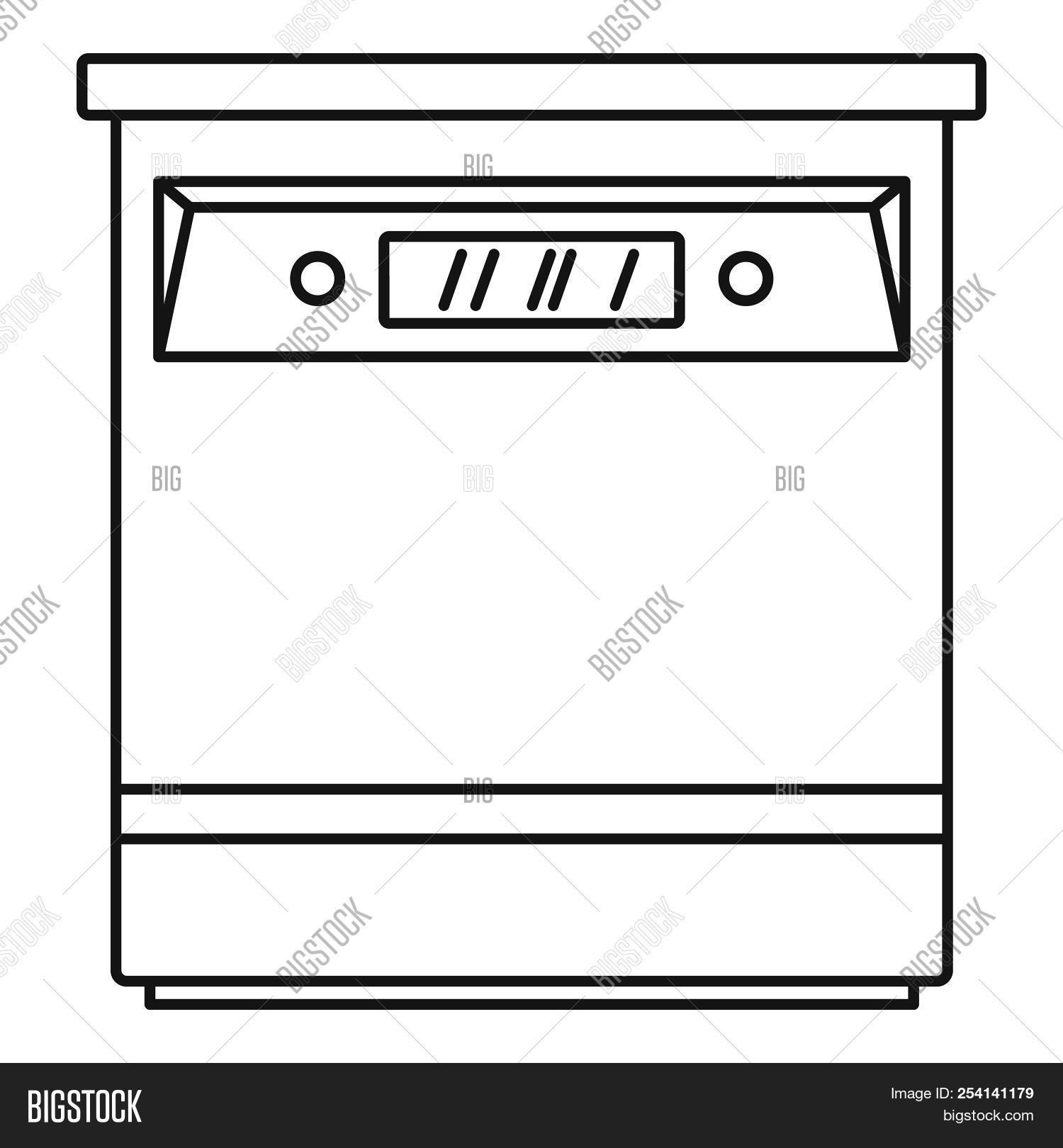 closed dishwasher icon outline