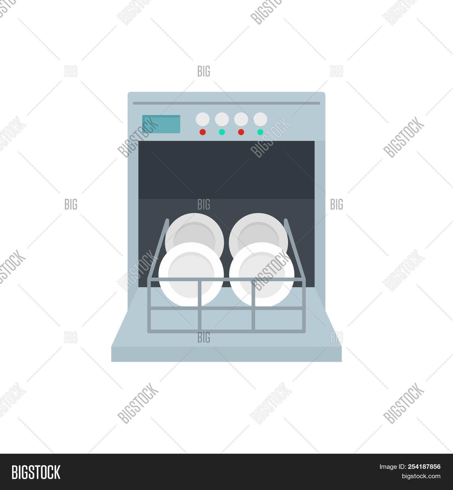 open dishwasher icon flat