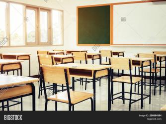 🔥 Empty School Classroom With Desks Chair Wood Greenboard And Whiteboard In High School Thailand Vin 256894594 image & stock photo