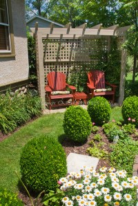 Backyard seating and formal garden style landscape with ...