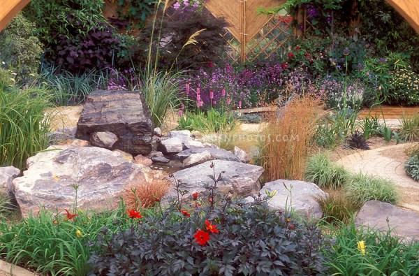 stones used in landscape backyard