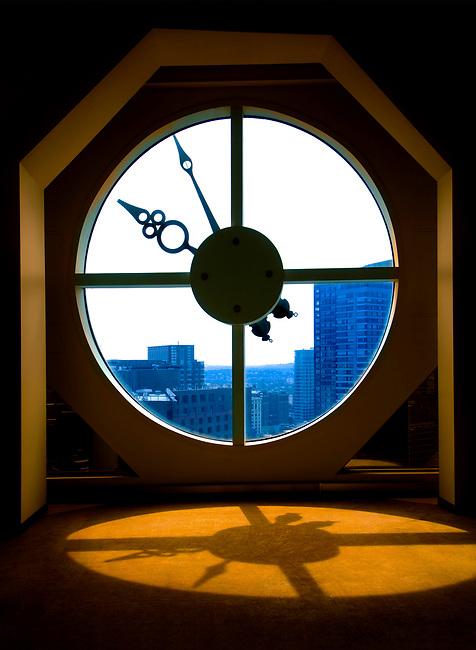 The Clock Window Atop 101 Arch Street In Boston