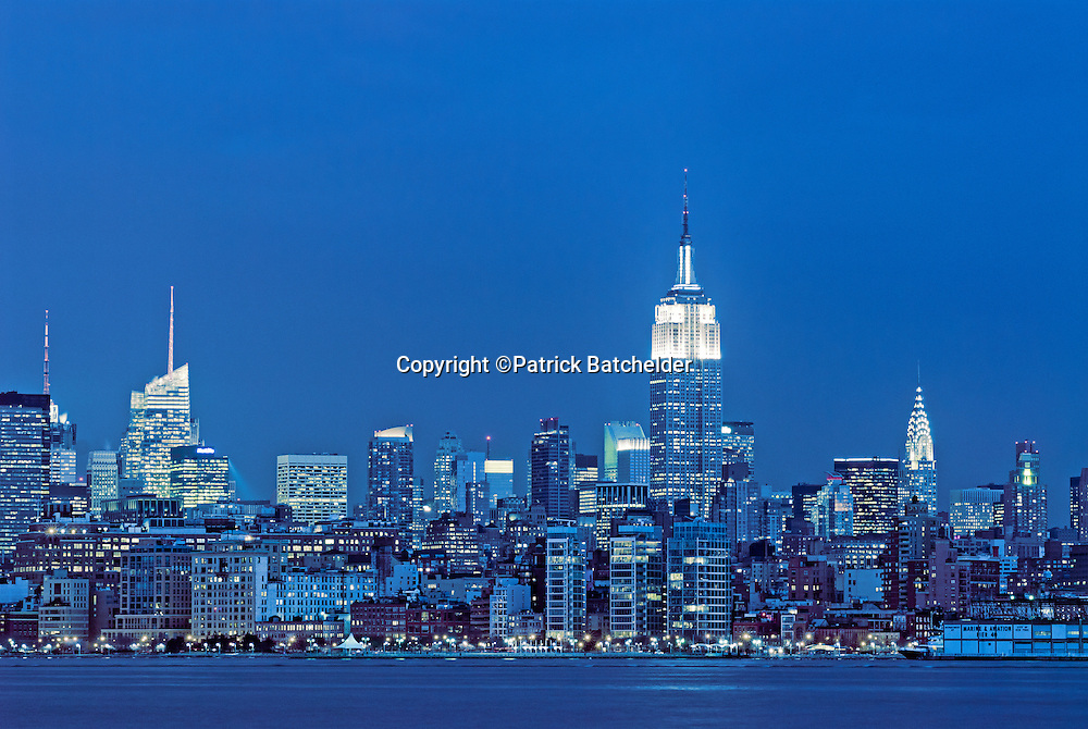 Skyline Of Manhattan At Twilight With Empire State Building