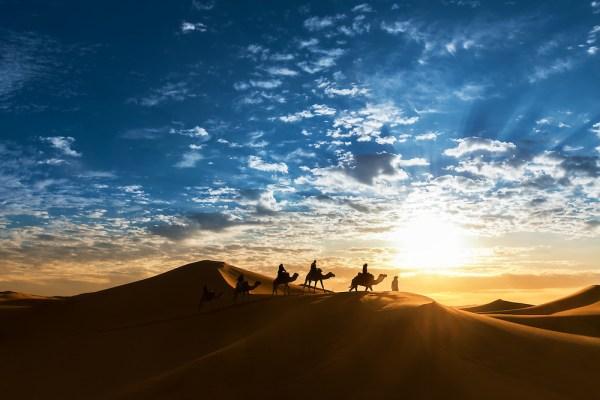 Caravan in the desert during sunrise against a beautiful