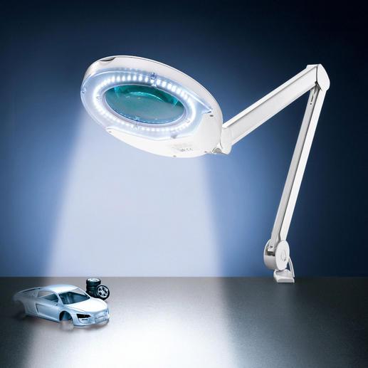 LED-Gelenkarmleuchte Ultrahelles LED-Licht – perfekt zum Lesen, Basteln und Arbeiten. Mit eingebauter Lupe.