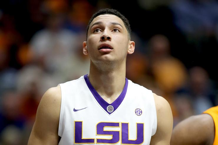 ebbb806d1bd Ben Simmons  25 of the LSU Tigers waits to rebound the ball during the game