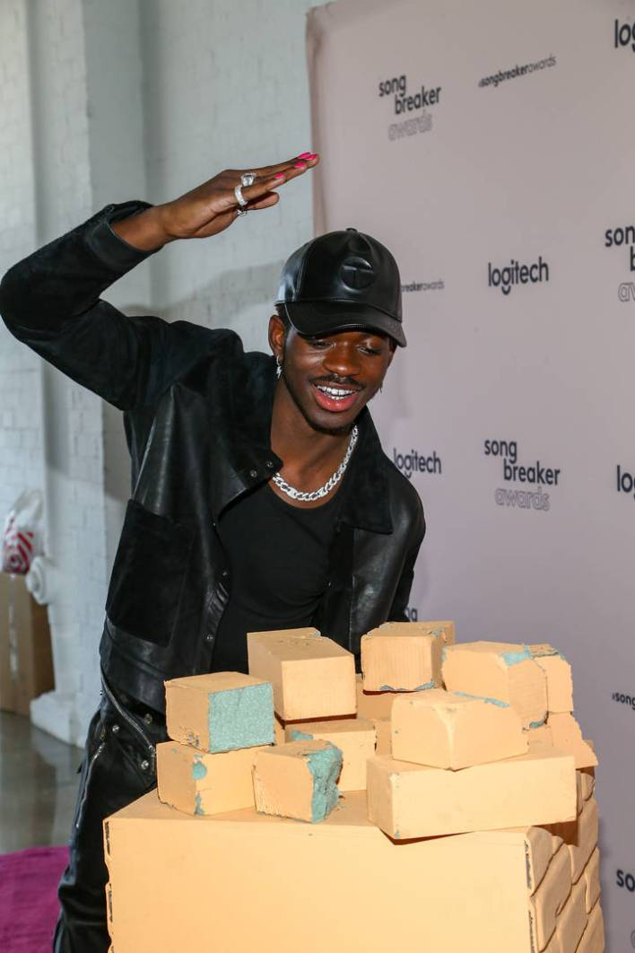 Lil Nas X poses as Logitech Celebrates Creators With First-Ever Song Breaker Awards at Hubble Studio on March 13, 2021 in Los Angeles, California.