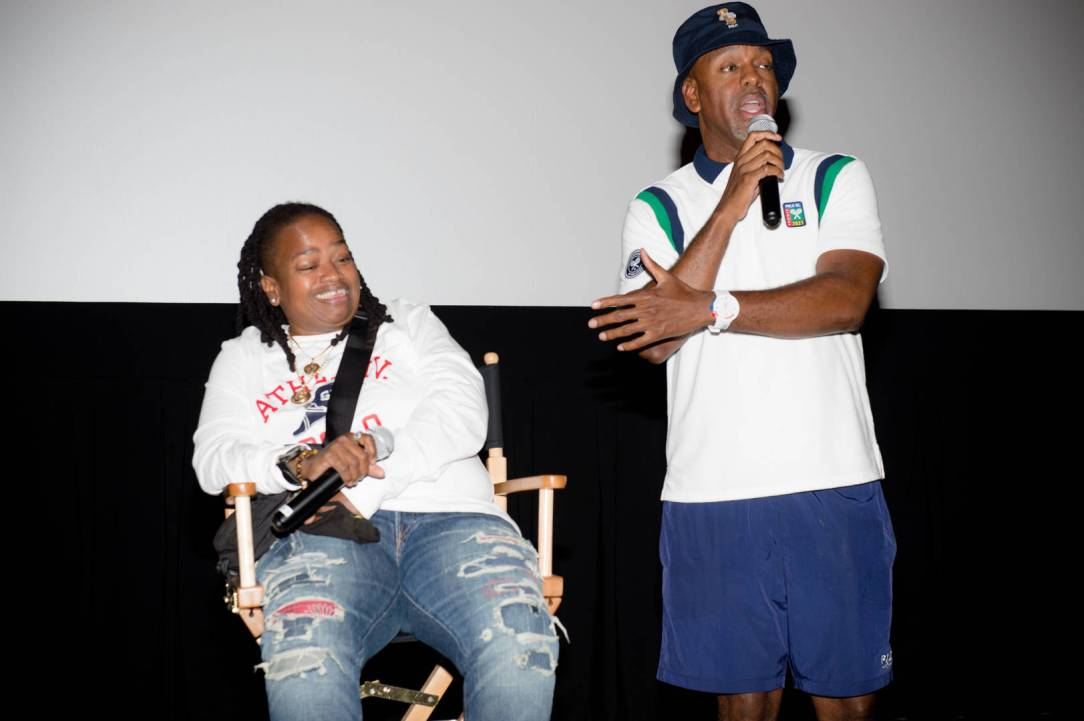 """Greg """"Olskool Ice-Gre"""" Lewis and Dapne """"E.P Da Hellcat"""" Mitchell of Abstract Mindstate appear onstage at the Abstract Mindstate listening session and screening at IPIC Theaters at Colony Square on July 27, 2021 in Atlanta, Georgia."""