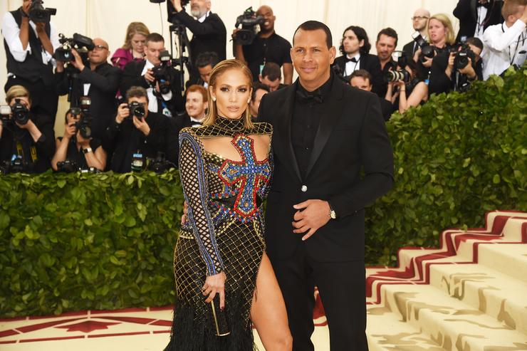 Jennifer Lopez and Alex Rodriguez attends the Heavenly Bodies: Fashion & The Catholic Imagination Costume Institute Gala at The Metropolitan Museum of Art on May 7, 2018 in New York City.