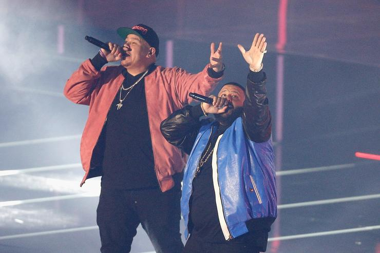 5f767c75db40 Fat Joe and DJ Khaled perform during the 2017 Verizon Slam Dunk Contest at  Smoothie King
