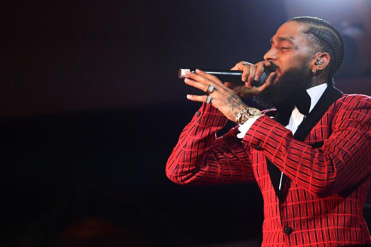 Nipsey Hussle performs onstage at the Warner Music Pre-Grammy Party at the NoMad Hotel on February 7, 2019 in Los Angeles, California.