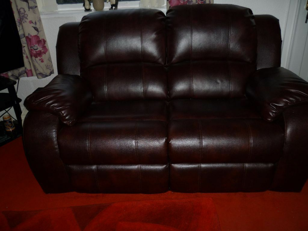 two seater recliner sofa gumtree bed 1 for sale 2 brown leather united