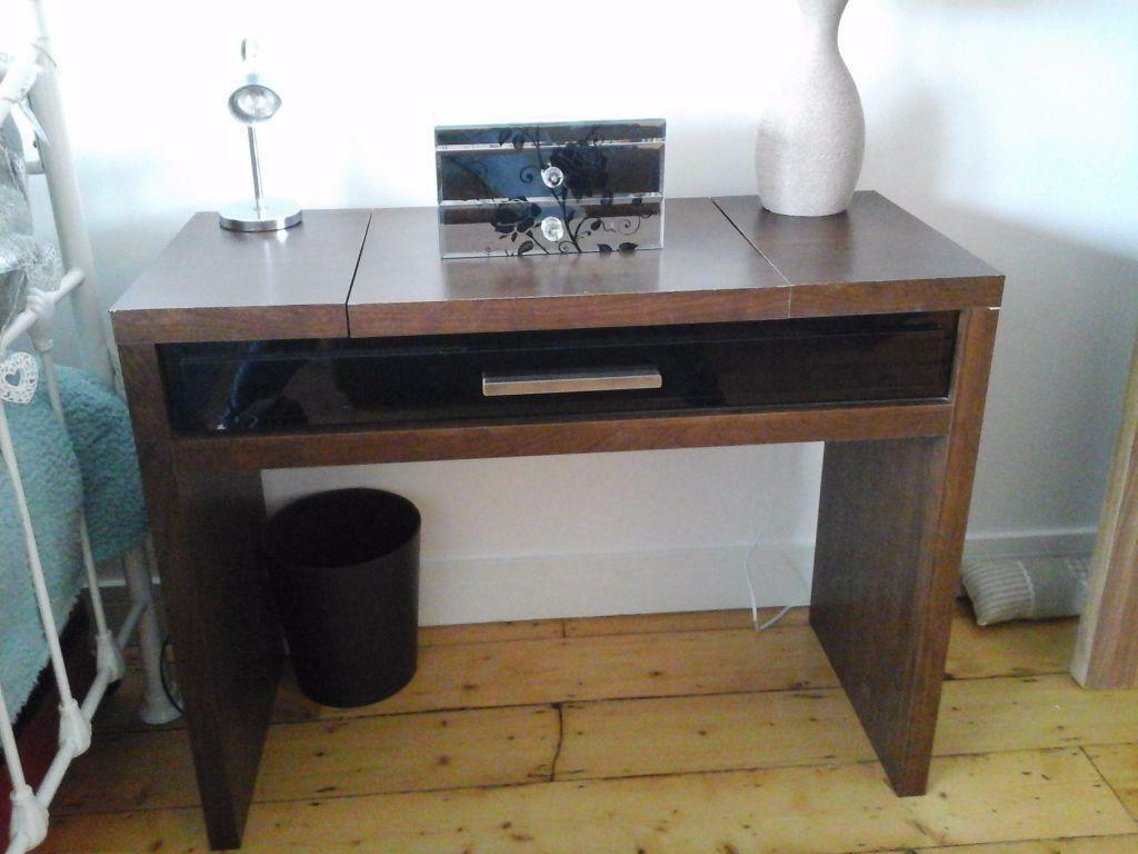 Next -walnut & Black Dressing Table With Hidden Mirror And