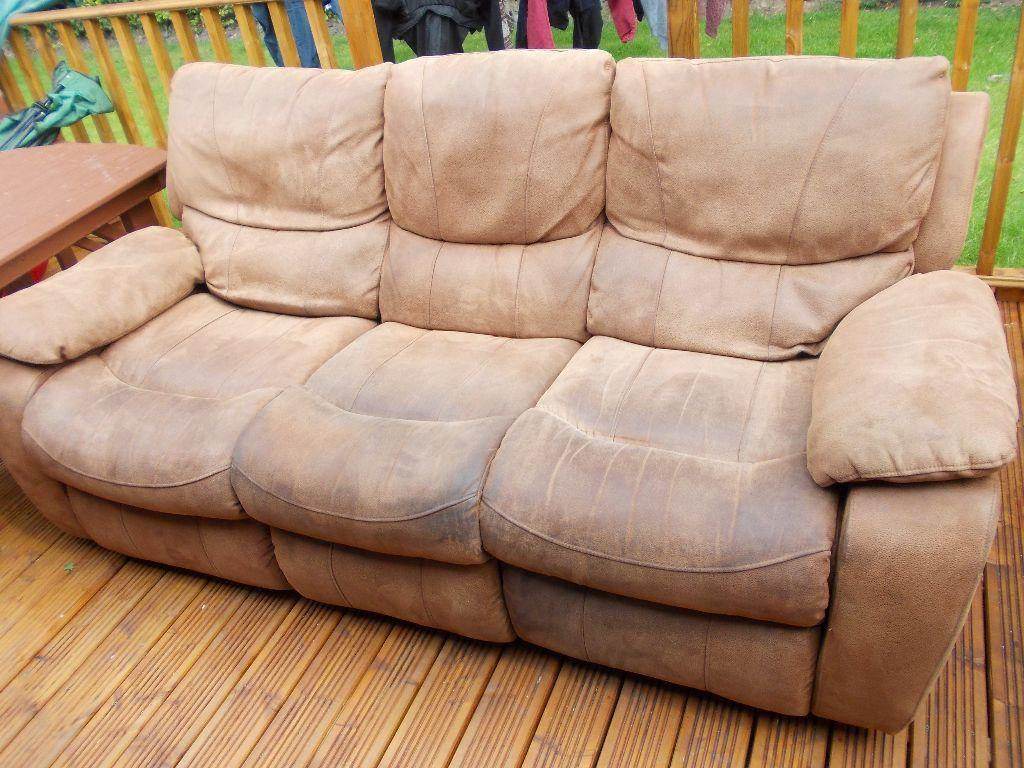 harveys 3 seater recliner sofa crypton ikea brown suede buy sale and trade ads