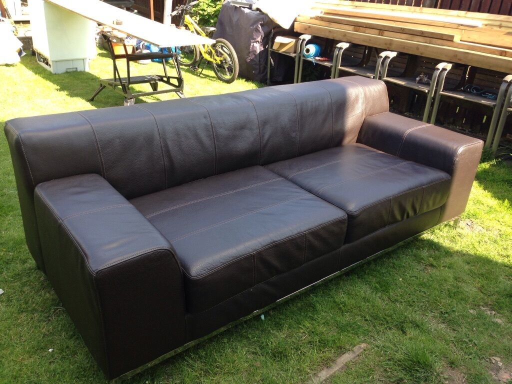 kramfors leather sofa high back sofas living room large brown sofaikea ikea