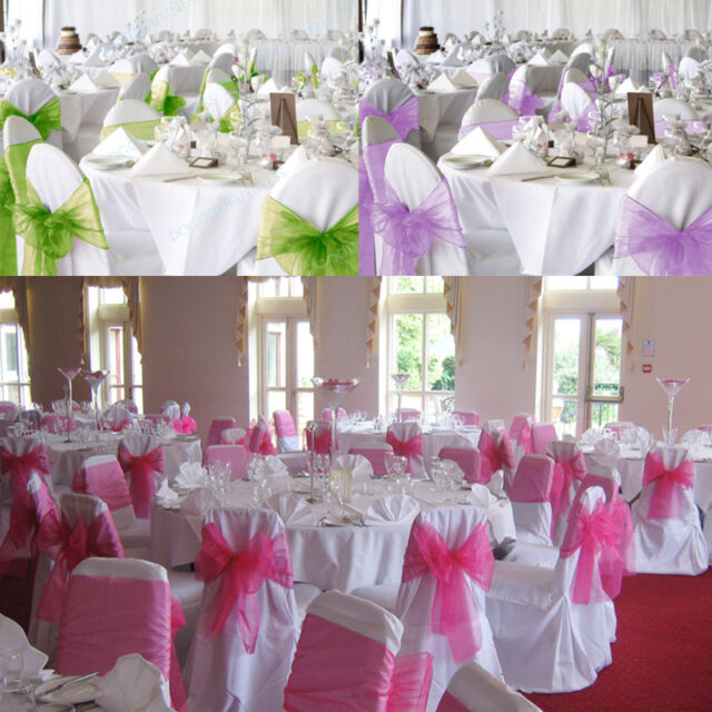chair covers and bows ebay recliner big w 1 25 50 100pcs organza sashes bow cover wedding party banquet decorations