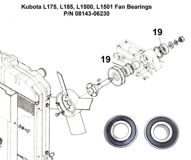 Kubota L175 L185 L1500 L1501 Fan Bearing Set 08143-06203