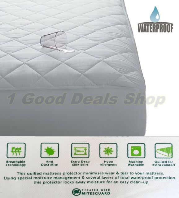 Waterproof Quilted Mattress Protector Wet Matress Pillow Cover Case Washable Hq