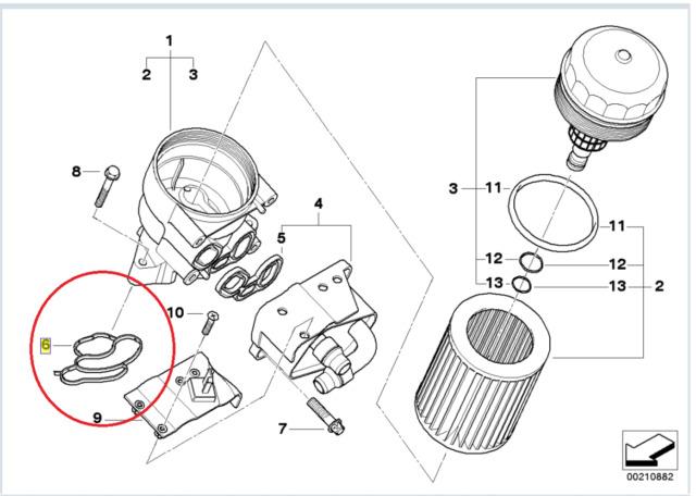 Genuine BMW Petrol 4 Cylinder Oil Cooler Seal Profile