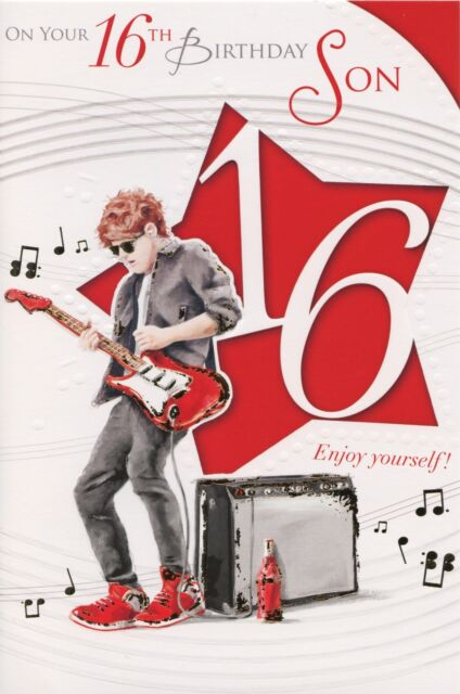 Music Theme Son 16th Happy Birthday Greetings Cards Best
