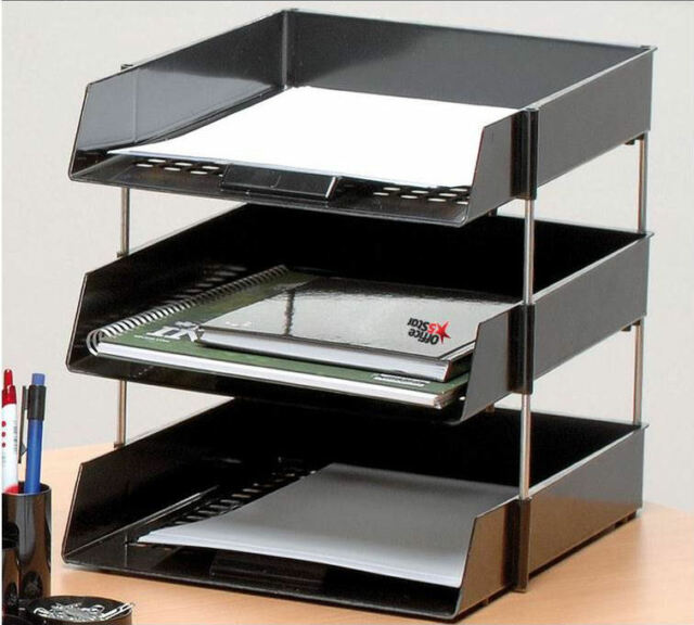 3 A4 Foolscap Letter Filing Desk Trays Black With 4 Risers
