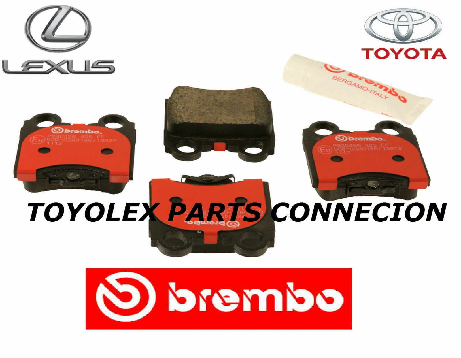 Lexus Rear Factory OEM Spec Brembo Brake Pads & Shims Kit