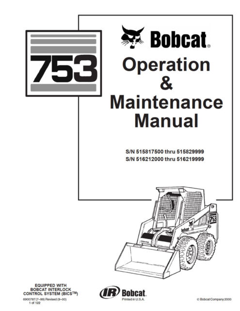 Bobcat 753 Skid Steer Operation & Maintenance Manual