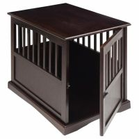 Pet Crate End Table Large Dog Kennel Furniture Cage Wood ...
