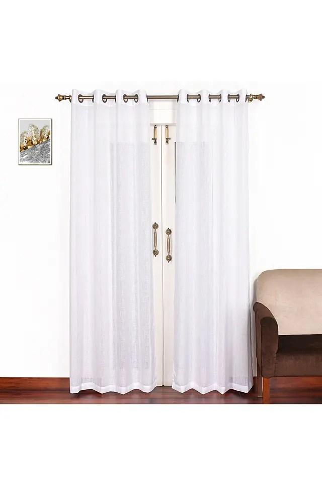 solid linen sheer single pc extra long door curtain 9 ft