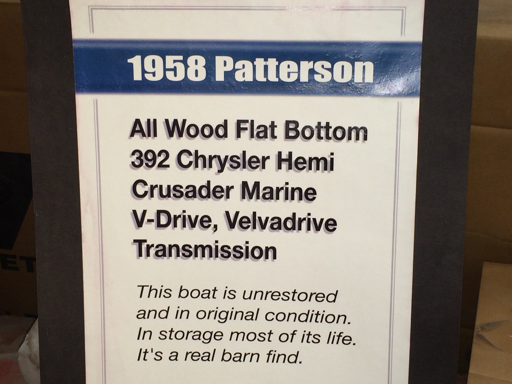 1958 Patterson Race Boat – $49k – S&S Mopar Muscle