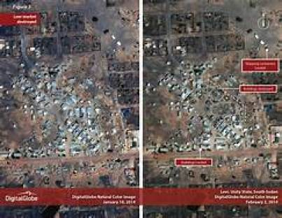 Satellite imaging showing Machar's hometown, Leer county, after it was erased down by government forces in 2014(Photo credit: Small Arms projects)