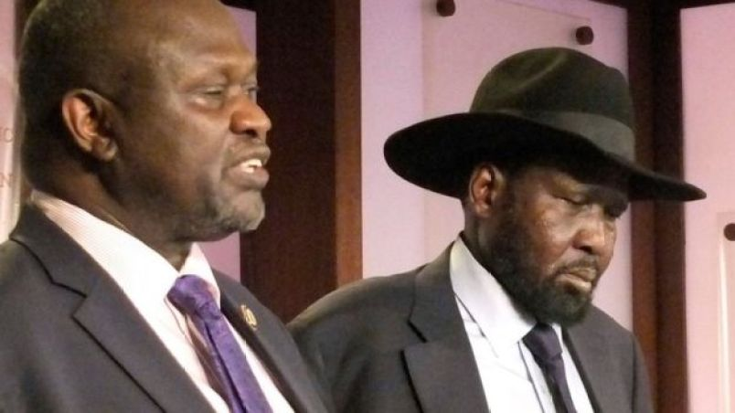 South Sudan rival leaders, Dr. Riek Machar Teny, leader of the SPLM/A(IO) and his former boss, President Salva Kiir(Photo credit: supplied)