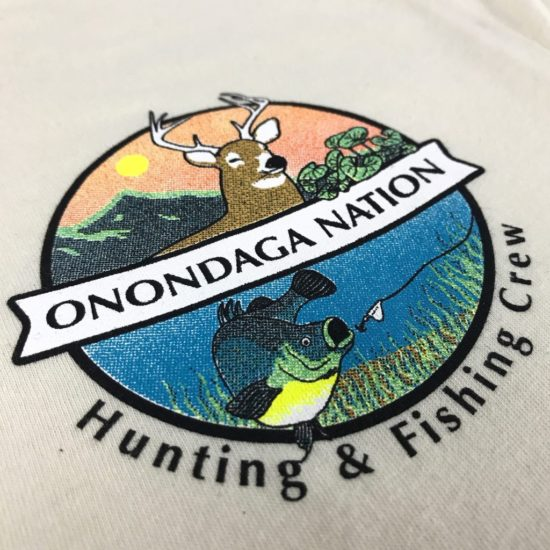 Custom t-shirt with left chest print for Onondaga Nation hunting & Fishing crew.