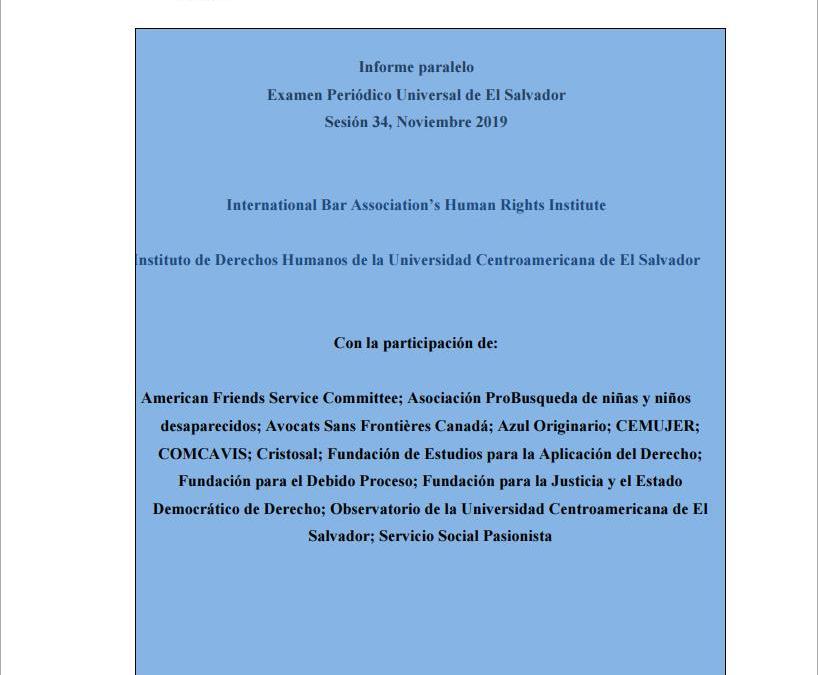 Informe paralelo Examen Periódico Universal de El Salvador 2019