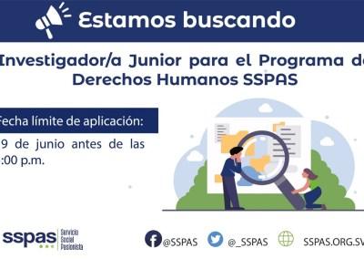 CERRADO – Investigador/a Junior para el Programa de Derechos Humanos SSPAS