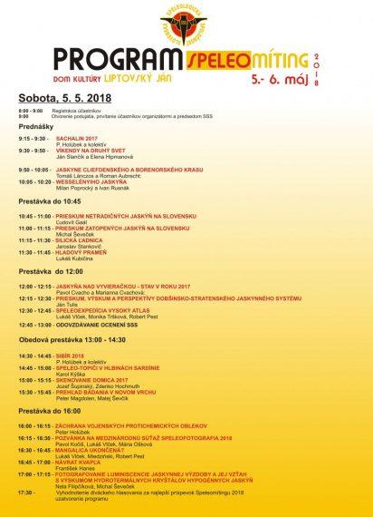 prednášky, Program Speleomítingu –  Dom kultúry Lipt. Ján, 5. 5. 2018, Slovenská speleologická spoločnosť