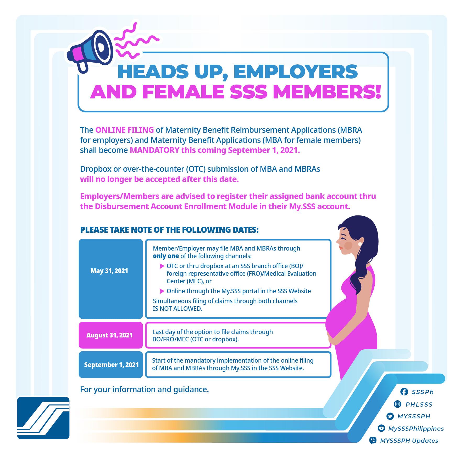 """Wala ng """"dropbox"""" at over-the-counter application for SSS benefits simula Sep 2021"""