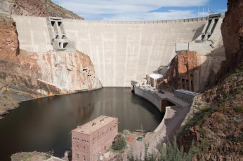 Theodore Roosevelt Dam, Roosevelt, Arizona. The highest masonry dam in the world. Built from 1903-1911, it is made from blocks carved right out of the canyon, stonework which has since been faced with concrete.