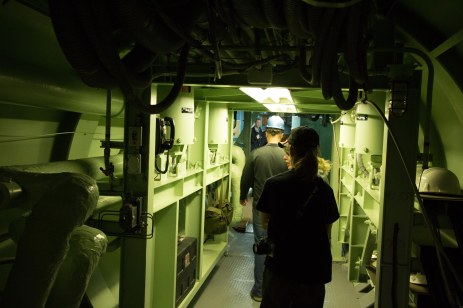 The walkway to the command center. The green cylinders on the the side are the shock absorbers that would keep the crew from even feeling the nuclear apocalypse.