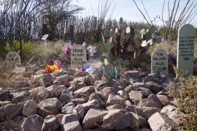 Boothill Cemetery, Tombstone, Arizona. The graves of the outlaws killed in the O.K. Corral shootout: Billy Clanton and brothers Frank & Tom McLaury.