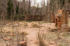 At the beginning of the trail you pass the ruins of Mayhew Lodge.