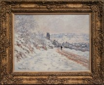 Road to the Village of Vetheuil, Snow, Claude Monet.
