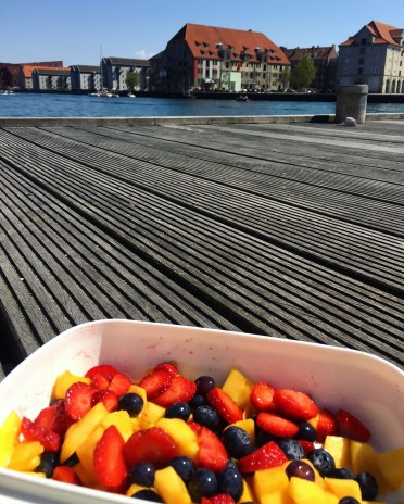 homework and fruit by the canal
