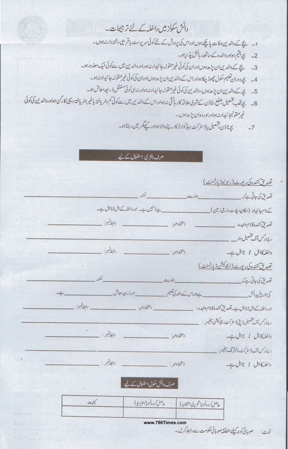 Danish School Admission Form 2015 for Class 6th