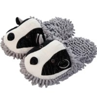 Aroma Home Fuzzy Feet Friends Badger Novelty Slippers Mules One Size UK 3-7