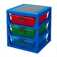 This LEGO 3-Drawer Storage Rack has three semitransparent drawers with LEGO elements features on the sides.