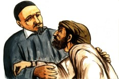Vincent de Paul helping poor man